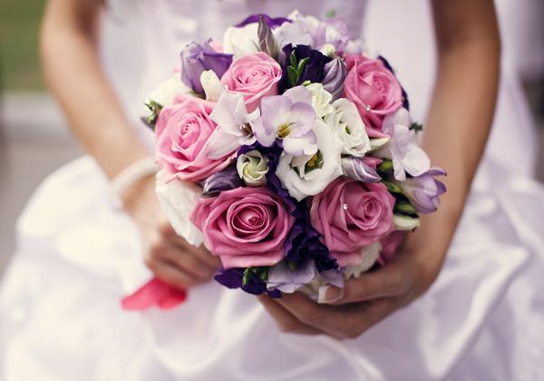 Hoa cưới hoa hồng - tím