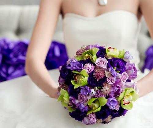 Hoa cưới tông hồng xanh - tím